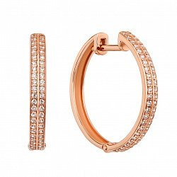 Серьги-кольца из красного золота с фианитами, d 22mm 000126181