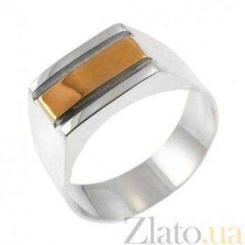 Серебряный перстень с золотой вставкой Мужской BGS--067к