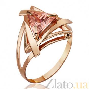 Золотое кольцо Триолетте с янтарного цвета фианитом EDM--КД069Я