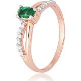 Позолоченное серебряное кольцо с зеленым цирконием Лалит