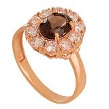 Золотое кольцо с раухтопазом и фианитами Иветта
