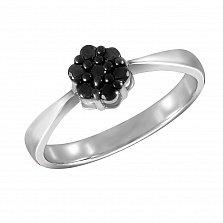 Кольцо из белого золота Камрин с черными бриллиантами