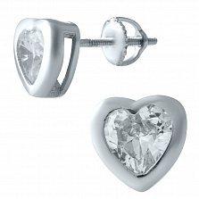 Серебряные серьги-пуссеты Звуки сердца с цикронием