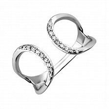 Золотое кольцо Зара в белом цвете с разомкнутой шинкой и фианитами