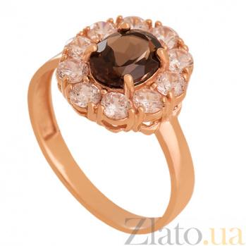 Золотое кольцо с раухтопазом и фианитами Иветта 000024455