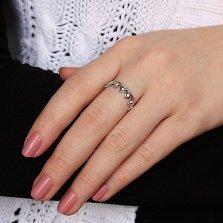 Серебряное кольцо Диадема из сердец с кристаллами циркония