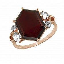 Кольцо из красного золота Атрина с гранатом, бриллиантами и кварцами