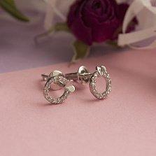 Серебряные пуссеты Символ любви с фианитами