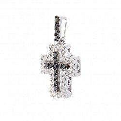 Крестик в белом золоте с черными и белыми бриллиантами 000113187