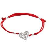 Шёлковый браслет I Love You с серебряной вставкой-сердцем