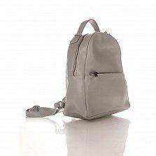 Кожаный рюкзак Genuine Leather 8988 серого цвета с карманом на молнии