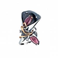 Серебряное дизайнерское кольцо Калла в позолоте с черным ониксом, фиолетовыми улекситами и цирконием