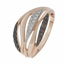 Кольцо в красном золоте Роберта с бриллиантами