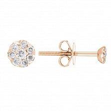 Золотые серьги-пуссеты Мальвинки с бриллиантами