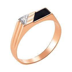 Золотой перстень-печатка в комбинированном цвете с цирконием и ониксом 000106444
