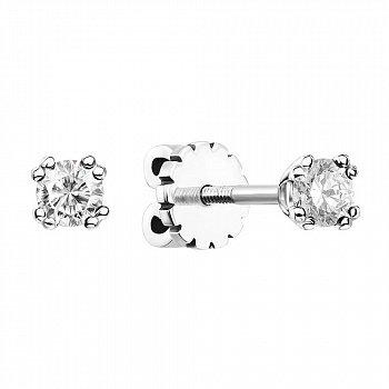 Серьги-пуссеты из белого золота с бриллиантами 000137778