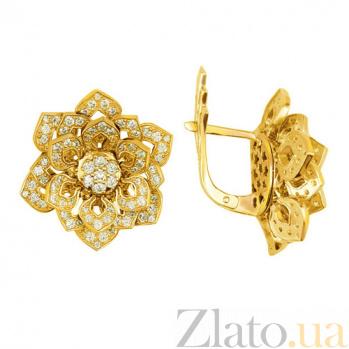 Серьги из желтого золота с цирконием Осенние цветы VLT--ТТ295-1