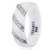 Керамическое кольцо Мэйэра с серебром и фианитами