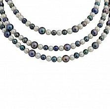 Многослойное ожерелье Эдем с черным и белым жемчугом