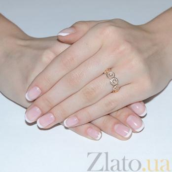 Золотое кольцо с цирконием Розочки EDM--КД2014