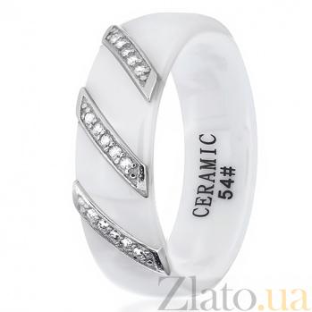 Керамическое кольцо Мэйэра с серебром и фианитами 000030994