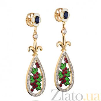 Золотые серьги с бриллиантами и сапфирами Калина KBL--С2552/крас/брилл