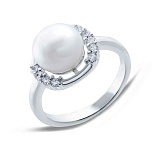 Серебряное кольцо с белым жемчугом Зефир
