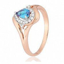Позолоченное кольцо из серебра с голубым фианитом Кристабель