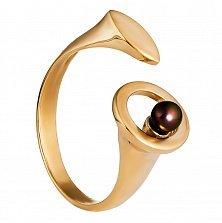 Золотое кольцо Симфония с жемчугом