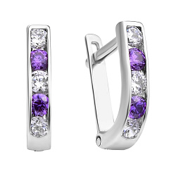 Серебряные серьги Дормео с фиолетовыми и белыми фианитами
