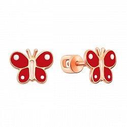 Серьги-пуссеты из красного золота с эмалью 000134324