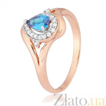 Позолоченное кольцо из серебра с голубым фианитом Кристабель SLX--КК3ФЛТ/340