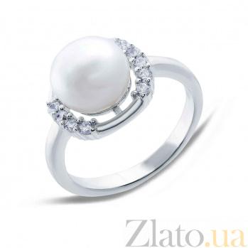 Серебряное кольцо с белым жемчугом Зефир AQA-R00593PW