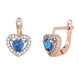 Серебряные сережки с синим цирконием Свет любви