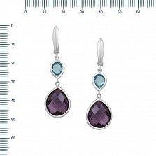 Серебряные серьги-подвески Виолетта с аметистом и топазом