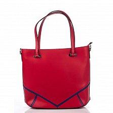 Кожаная деловая сумка Genuine Leather 8660 красного цвета с синими геометрическими вставками