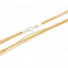 Многослойный золотистый шнурок Кентукки из органзы с серебряным родированным замком