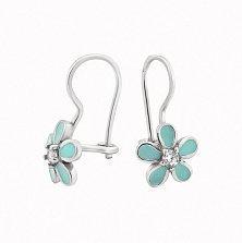 Серебряные детские серьги Милые цветочки с бирюзовой эмалью и фианитами