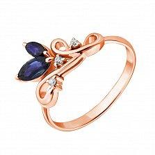 Золотое кольцо Нежная веточка с сапфирами и бриллиантами