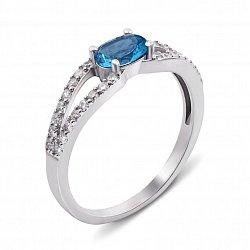 Серебряное кольцо с лондон топазом и фианитами 000135991