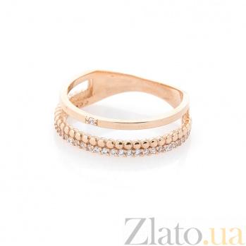 Золотое кольцо Загадочный блеск с фантазийной шинкой и дорожками белых фианитов 000082384