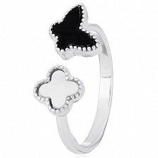 Кольцо из серебра Кокетка с перламутром и ониксом в стиле Ван Клиф