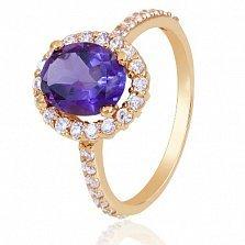 Золотое кольцо Альда с аметистом и фианитами