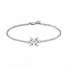 Серебряный браслет Нежность с кристаллами циркония