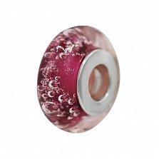 Серебряный шарм Шампань с розовым муранским стеклом