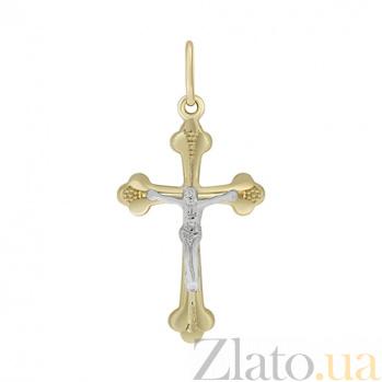 Крестик из комбинированного золота Духовная идилия 000032994