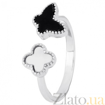 Кольцо из серебра Кокетка с перламутром и ониксом 000030975