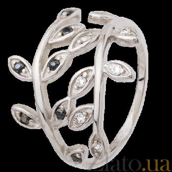 Серебряное кольцо с черными и белыми фианитами Лавр 000025675
