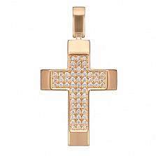 Крестик в красном золоте Мудрость с фианитами