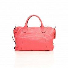 Кожаная сумка на каждый день Genuine Leather 8961 кораллового цвета с декоративной подвеской-кистью